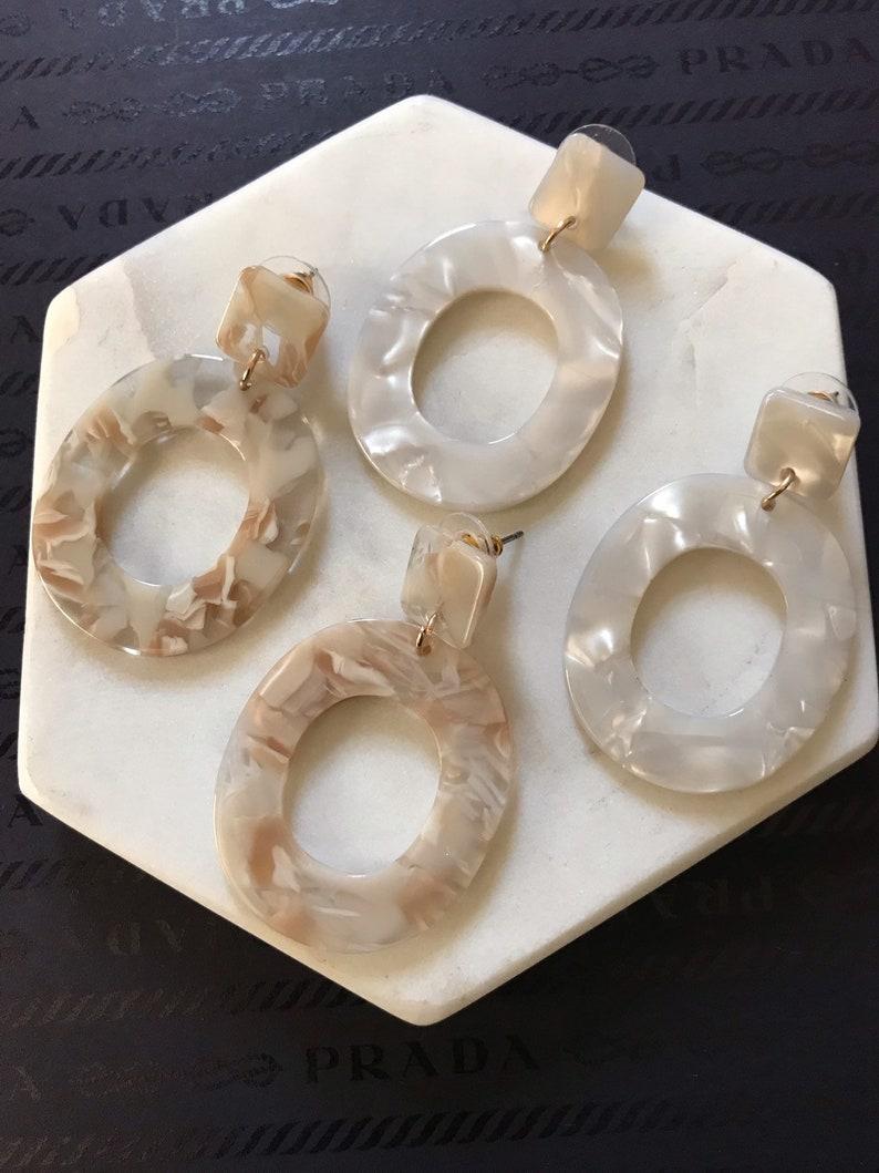Available in Beige and White Dangle Oval Earrings acrylic earrings hoop Acrylic Resin Acetate Earrings