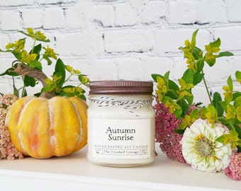 8oz Autumn Soy Candles • 20 Scents • Sweater Weather • Welcome Home • Plaid Pumpkin • Apple Orchard • Spiked Cider • Falling Leaves