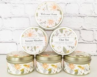 5oz Autumn Gold Tin Candles • 20 Scents • Salted Caramel • Spiked Cider • Fall Farmstand • Plaid Pumpkin • Autumn Farmhouse • Heath & Home