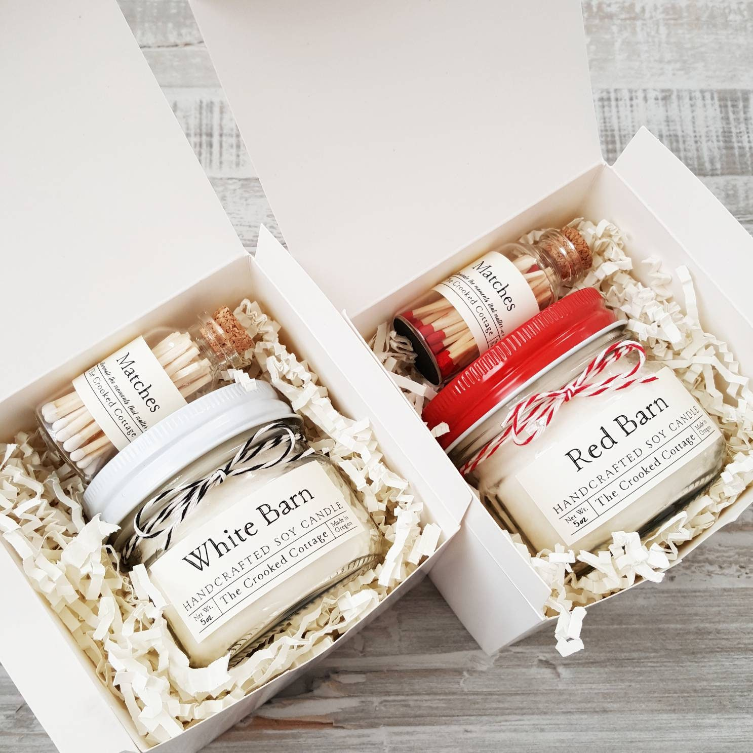 Farmhouse Candle Gift Set Red Barn Candle Red Matches Or