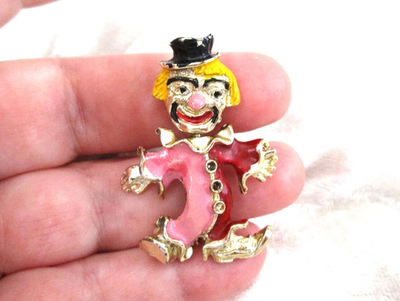 Vintage Clown Brooch, Enamel Clown Brooch, Two fac