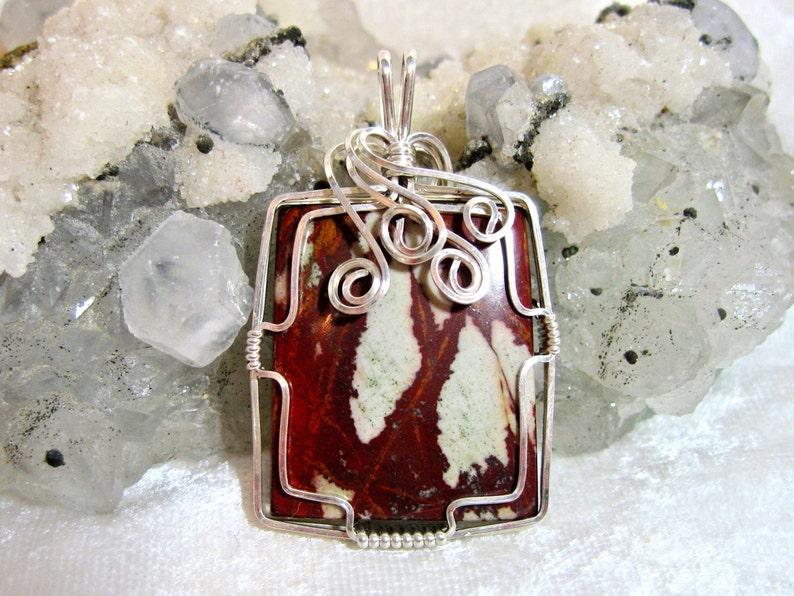 Jasper Pendant Natural Gemstone Sterling Silver 935 Wire Wrapped in Argentium Anti Tarnish wire Noreena Jasper Pendant