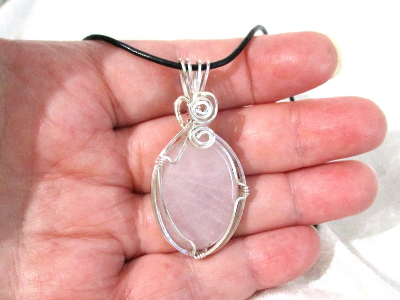 Rose Quartz Pendant 935 Sterling Silver Argentium Anti-Tarnish Wire Wrapped Mother of Pearl Heart Pendant Pink Pendant