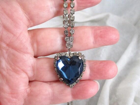 Vintage Sapphire Necklace faux, Blue Crystal Neckl