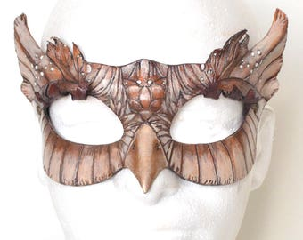 Horned Brown Owlet Owl Leather Cosplay Masquerade Mask