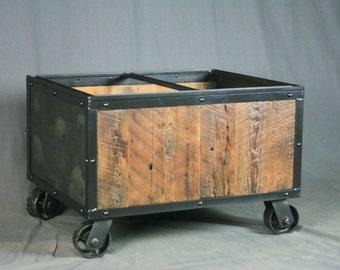 Reclaimed Wood Industrial File Cart. Rolling. Vintage Industrial, Steel.  Rustic U0026 Modern Office Furniture. Handmade. Customizable. Barn Wood
