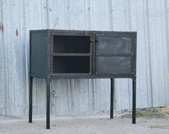 Ordinaire Vintage Industrial Buffet. Steel Media Console. Small Metal Liquor Cabinet.  Mid Century Credenza. Rustic Furniture. Handmade. Customizable.
