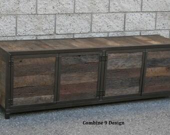 Credenza Para La Sala : Reclaimed wood media console. rustic industrial credenza. etsy