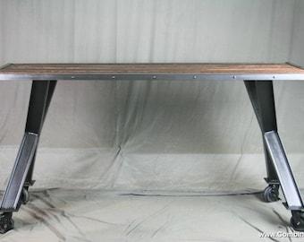 modern industrial desk metal modern industrial desk reclaimed wood dining table vintage table office furniture desk architectural wood modern etsy