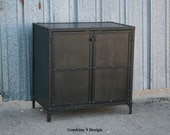 Industrial Night Stand. Steel End Table. Steel Storage Cabinet. Small Media Console. Modern Urban Side Table. Rustic Loft Decor.