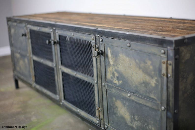 Unique Entertainment Center Reclaimed Wood and Steel Sideboard Modern Design Steel Custom Configuration Vintage Industrial Credenza