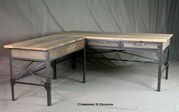 Bureau en forme de l industriel vintage acier et mobilier etsy