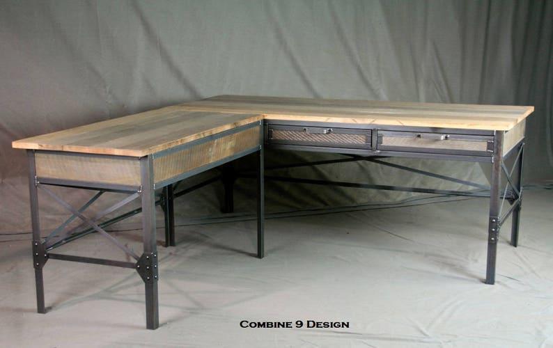Bureau en forme de l industriel vintage. acier et mobilier etsy
