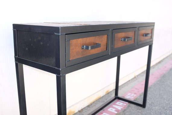 Reclaimed Wood Industrial Console Table With Drawers Etsy