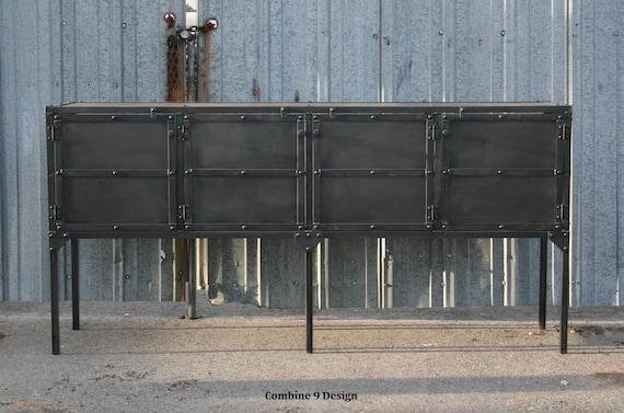 Credenza Industrial Fai Da Te : Industrial buffet. vintage sideboard. steel media console. etsy
