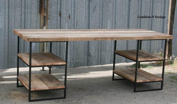 Bureau bois récupéré avec étagères. en acier. bureau etsy