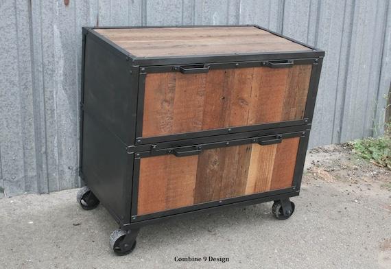 Gentil Reclaimed Wood File Cabinet. Industrial Filing Cabinet. | Etsy