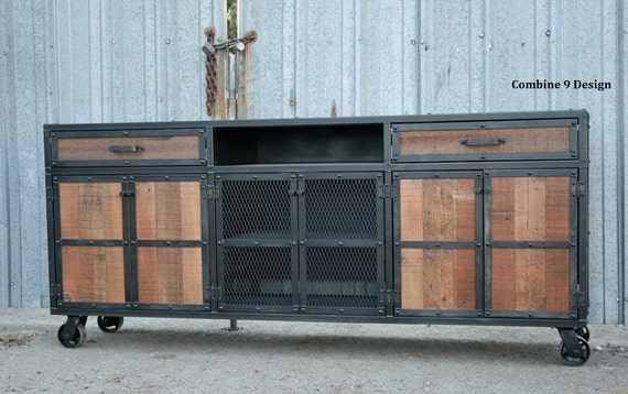 Credenza Industrial Fai Da Te : Rustic credenza. steel and reclaimed wood media console. etsy