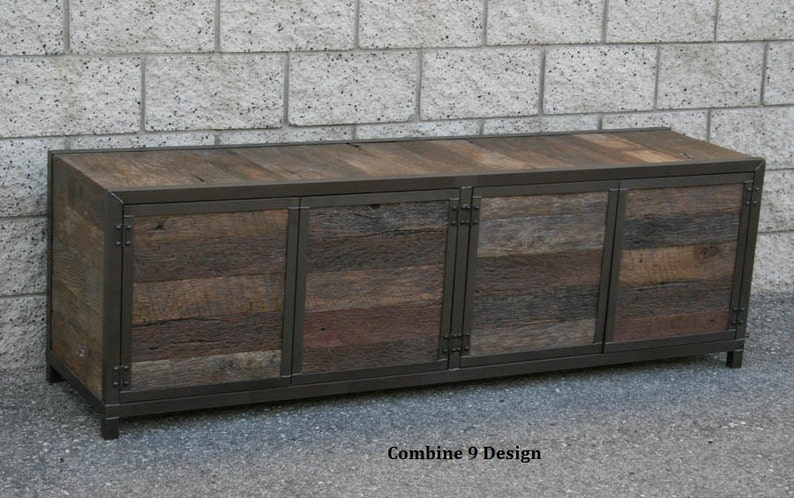 Credenza Industrial Fai Da Te : Rustic reclaimed wood media console credenza handmade etsy