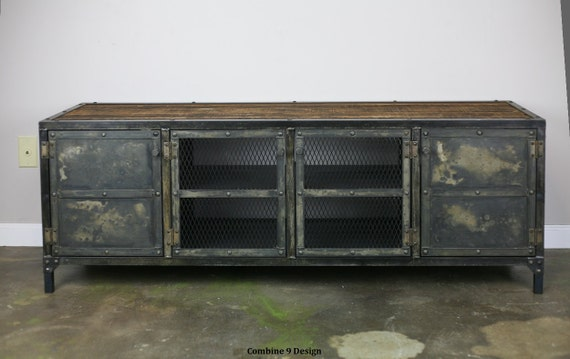 industrial media furniture industrial chic image industrial media console vintage style credenza reclaimed etsy