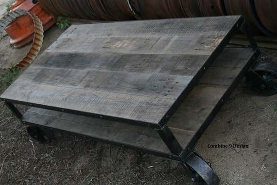 Sensational Vintage Industrial Coffee Table With Wheels Reclaimed Wood Rustic Coffee Table With Casters Farmhouse Reclaimed Wood Steel Furniture Creativecarmelina Interior Chair Design Creativecarmelinacom