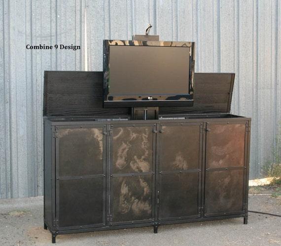tv lift cabinet pop up tv media console hideaway tv. Black Bedroom Furniture Sets. Home Design Ideas