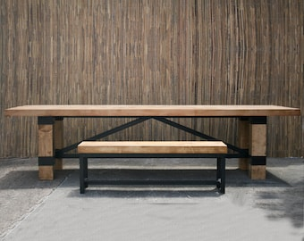 Rustic Industrial Conference Table.  Modern Dining Table. Solid wood desk. Handmade Wood Furniture.