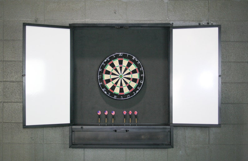 Outstanding Wall Mounted Dartboard Cabinet Vintage Industrial Bar And Game Room Games Distressed Steel Unique Man Cave Furniture Pub Games Handmade Home Interior And Landscaping Dextoversignezvosmurscom