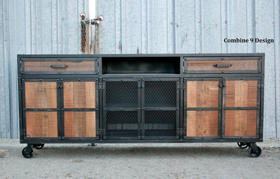 Credenza Industrial Fai Da Te : Rustic credenza. steel and reclaimed wood media console. etsy
