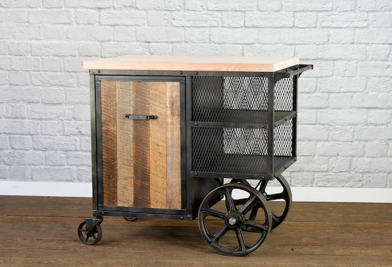 Reclaimed Wood Kitchen Island, Industrial Kitchen Island Cart, Modern Bar  Cart, Kitchen Preparation Work Station, Table Side Service Cart