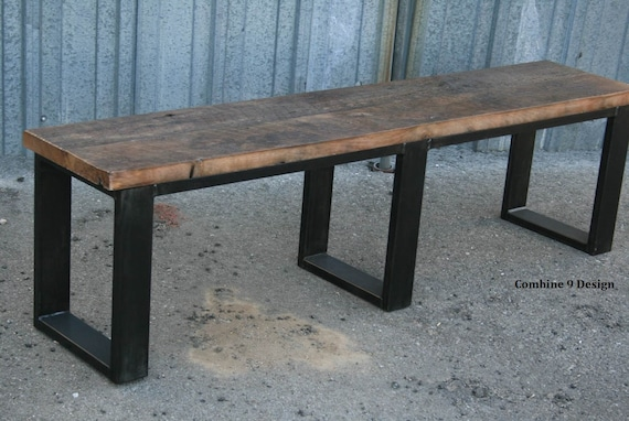 Miraculous Reclaimed Wood Bench Industrial Bench Seat Steel Bench Unique Rustic Dining Table Seating Modern Farmhouse Bench Gmtry Best Dining Table And Chair Ideas Images Gmtryco