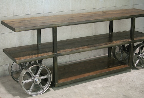 industrial console table with wheels trolley cart media. Black Bedroom Furniture Sets. Home Design Ideas