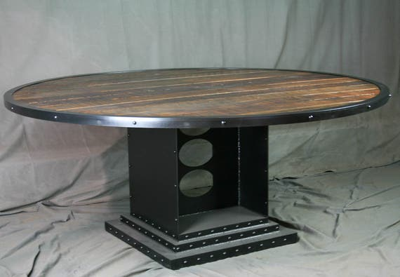 Industrial Reclaimed wood Round Dining Table - Industrial Conference Table  - Urban Style Office - Industrial Office Furniture - Urban Home