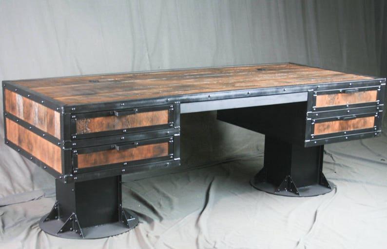 Industrial Office Furniture. Vintage Industrial Reclaimed Wood Desk with Drawers Rustic Industrial Desk Reclaimed Wood Desk with Storage
