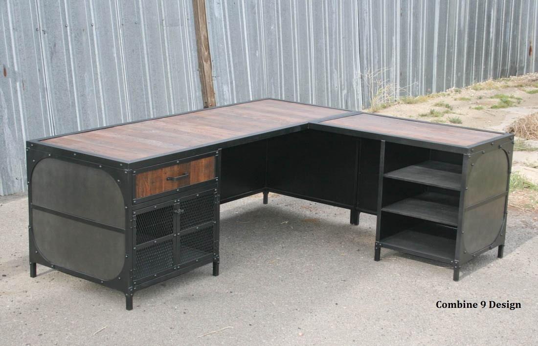 modern industrial l shaped desk steel and reclaimed wood desk etsy. Black Bedroom Furniture Sets. Home Design Ideas