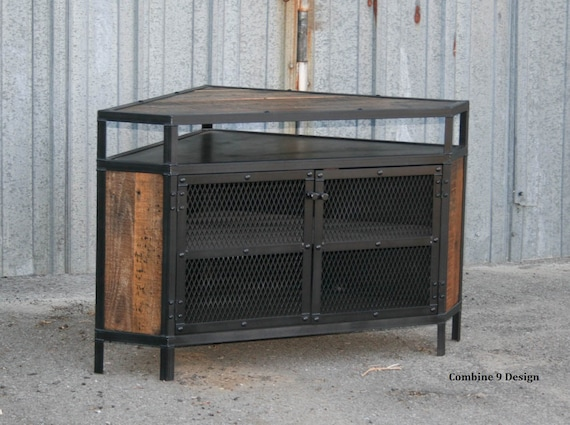 Industrial Corner Unit With Reclaimed Wood Tv Stand Urban Etsy