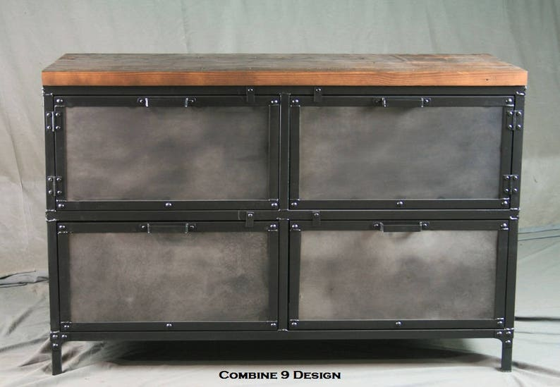 Industrial File Cabinet With Storage Vintage Industrial Style Etsy