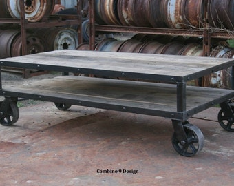 Charming Vintage Industrial Coffee Table With Wheels. Rustic Coffee Table With  Casters. Modern Farmhouse. Reclaimed Wood And Steel Furniture. Unique.