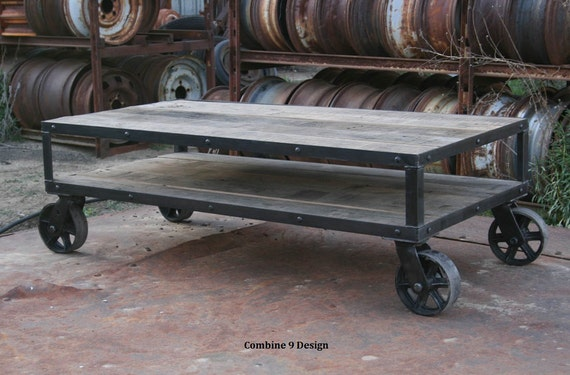 Cool Vintage Industrial Coffee Table With Wheels Reclaimed Wood Rustic Coffee Table With Casters Farmhouse Reclaimed Wood Steel Furniture Creativecarmelina Interior Chair Design Creativecarmelinacom