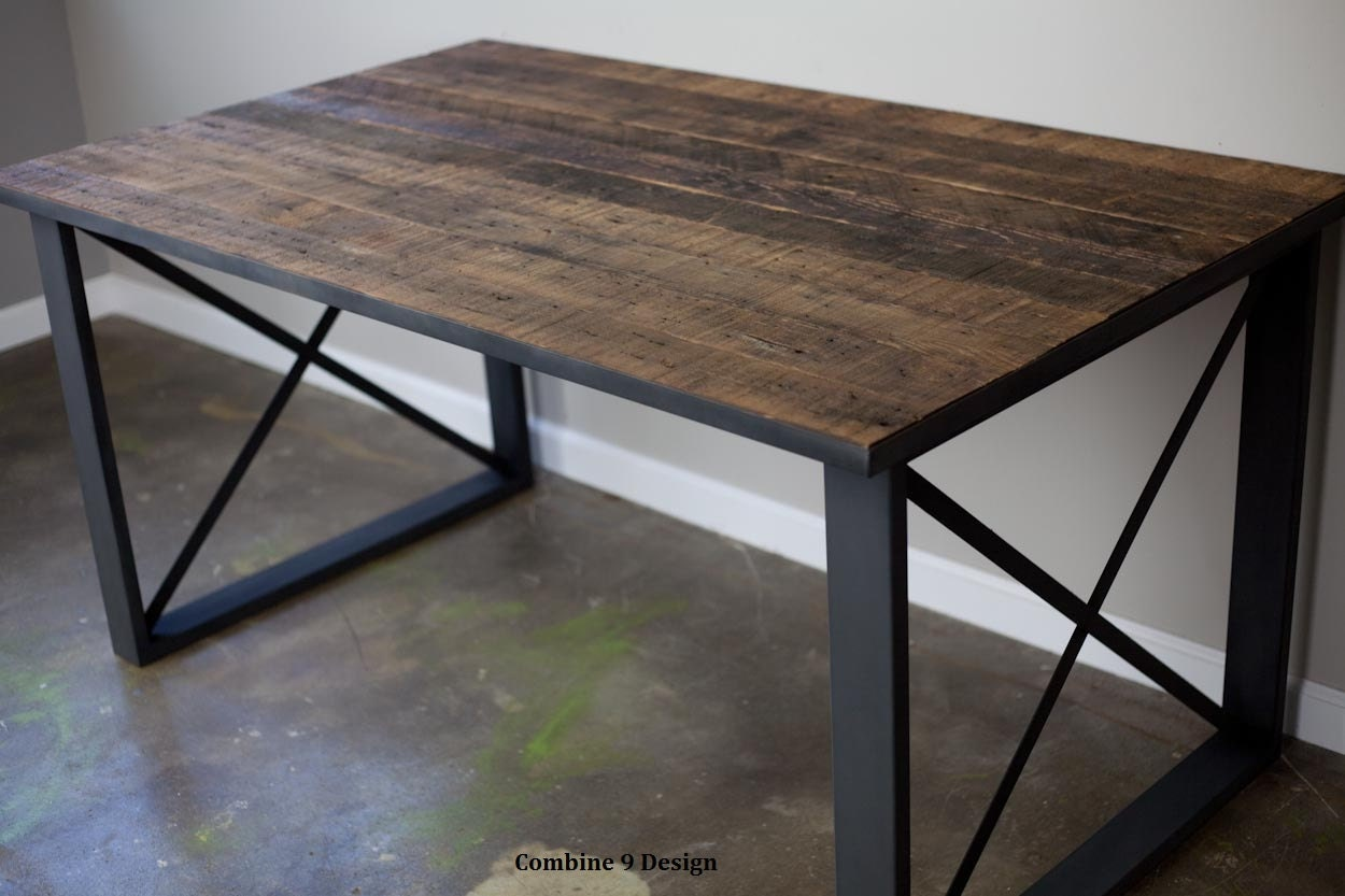 reclaimed wood desk industrial dining table modern desk etsy rh etsy com reclaimed wood computer desk diy reclaimed wood computer desk diy