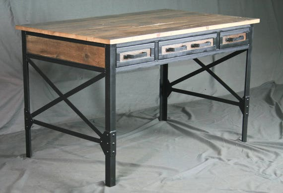industrial office desk commercial image reclaimed wood desk with drawers industrial office w etsy