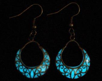 Crescent Moon Earrings Glow In The Dark Earrings Antique Bronze (glows aqua)