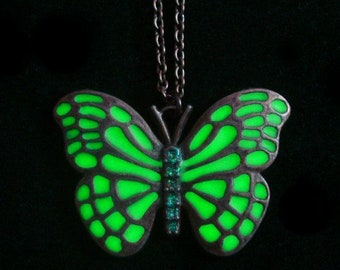 Green Butterfly Necklace Glow In The Dark Necklace Antique Bronze