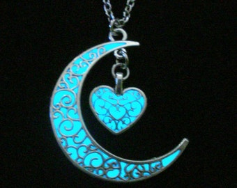 Moon And Heart Glow In The Dark Necklace Antique Silver