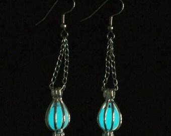 Enchanted Caged Full Moon Earrings Glow In The Dark Earrings Antique Bronze (glows aqua)