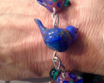 Blues and Birds of a Feather Bracelet, Linked, With Copper Wired Pearl Nest