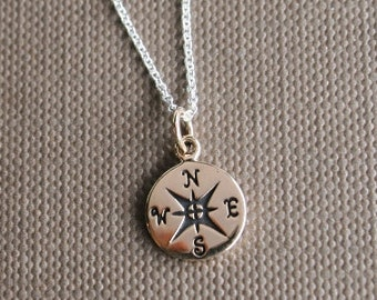"""Journey Bronze Compass Charm Necklace 18"""" Sterling Silver Chain Graduation Compass Necklace, Graduation Necklace"""