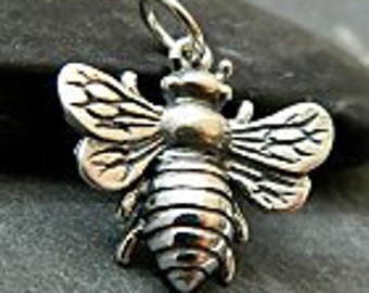Large Sterling Silver Bee Charm, Large Honey Bee Charm, Large Sterling Silver Bee Charm, Large Silver Bee harm
