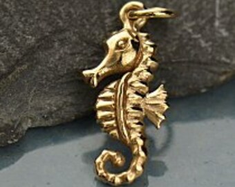 Bronze Seahorse Charm, Sea life Charm, Seahorse Charm, Travel Charm, Bronze Seahorse Pendant, Seahorse Necklace Charm, Seahorse