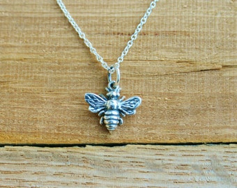 Sterling Silver Bee Charm Necklace, Honey Bee Charm Necklace